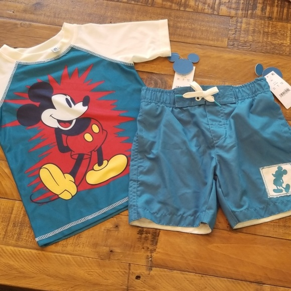 7822009240 Junk Food Clothing Swim | Disney Mickey Mouse Trunks Shirt Set Upf50 ...
